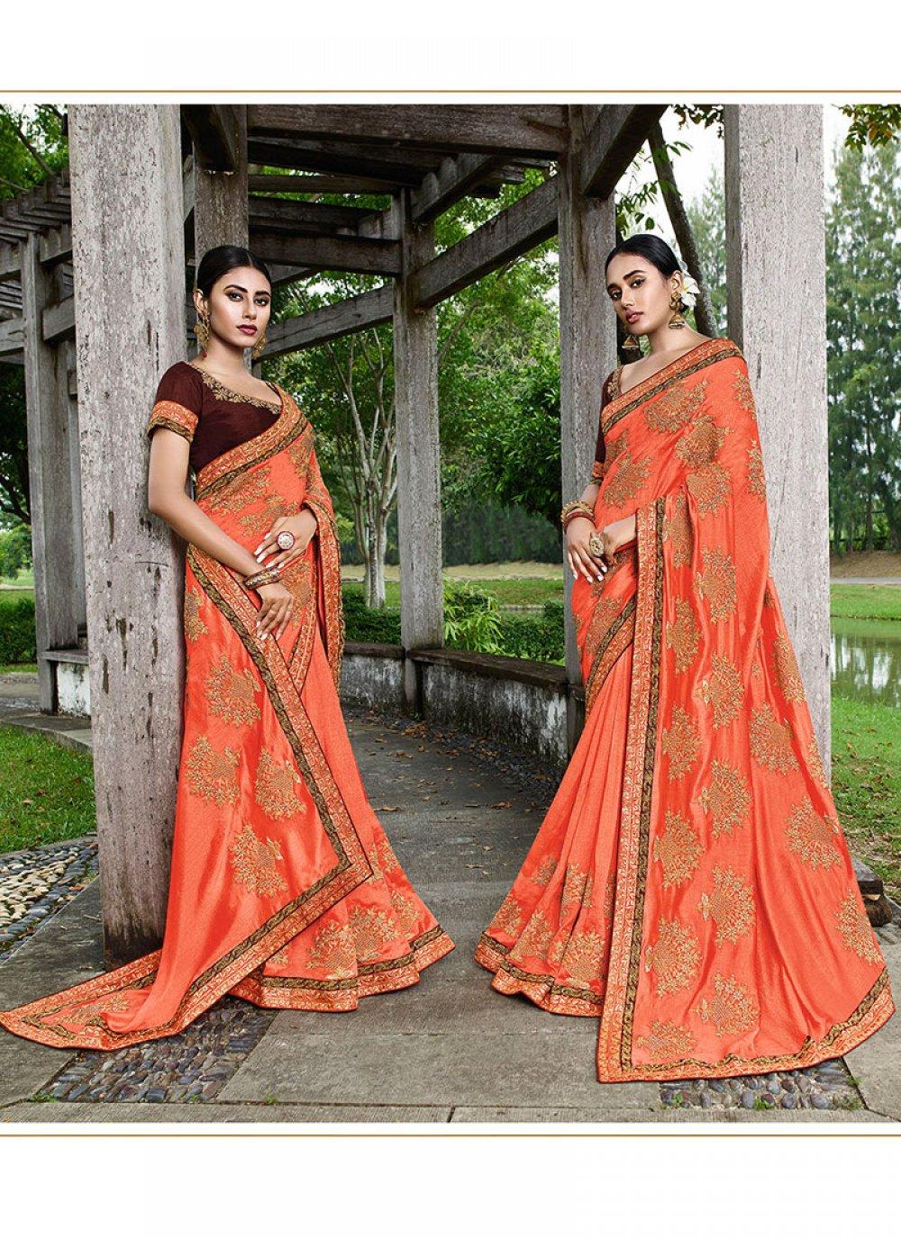 Art Silk Orange Classic Designer Saree