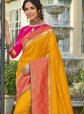 Art Silk Orange Classic Saree
