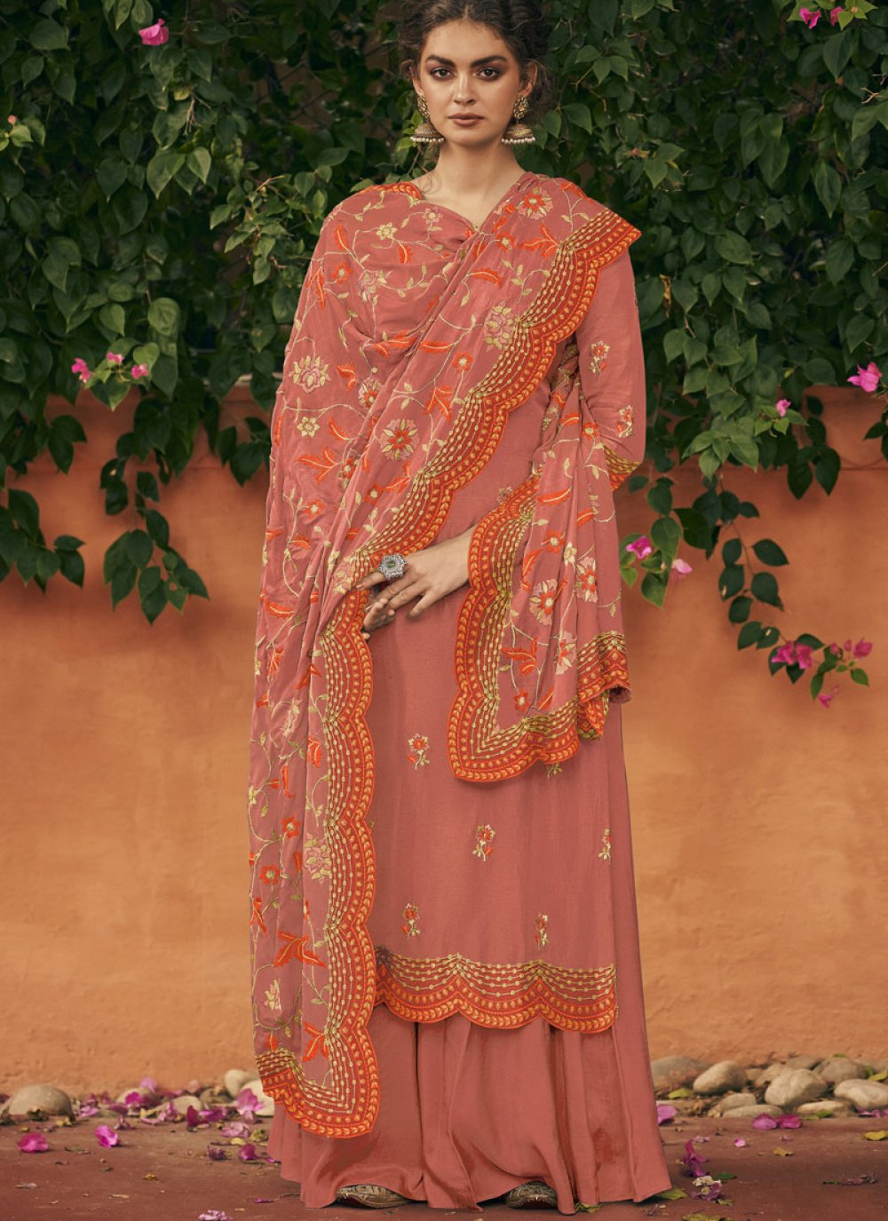 Art Silk Orange Embroidered Salwar Kameez