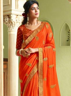 Art Silk Orange Resham Designer Saree