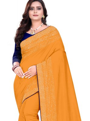 Art Silk Orange Stone Designer Saree