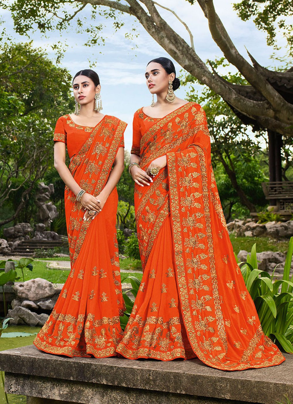 Art Silk Orange Trendy Saree