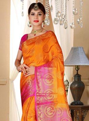Art Silk Orange Weaving Designer Saree