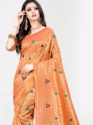 Art Silk Orange Weaving Designer Traditional Saree