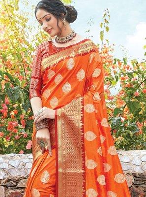 Art Silk Orange Zari Designer Bridal Sarees