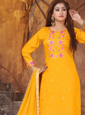 Art Silk Pant Style Suit in Yellow
