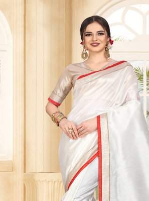 Art Silk Patch Border Contemporary Saree in White