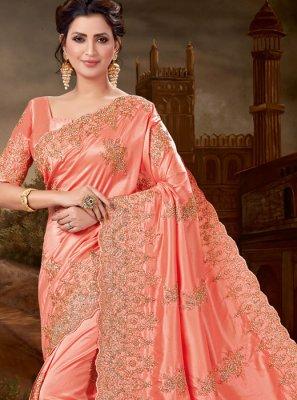 Art Silk Peach Designer Saree