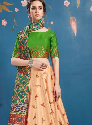 Art Silk Peach Digital Print A Line Lehenga Choli