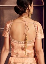 Art Silk Peach Embroidered Designer Lehenga Choli