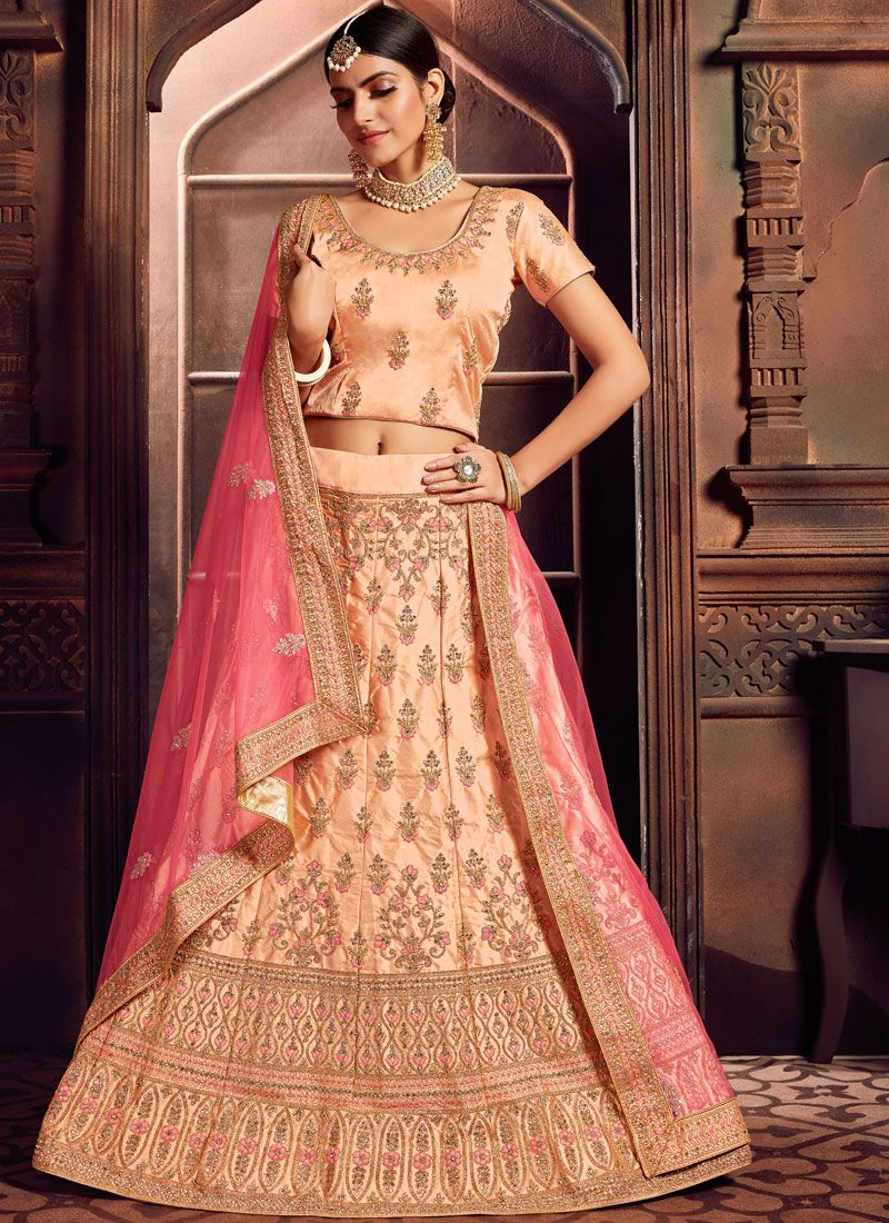 Art Silk Peach Embroidered Designer Lehenga Choli