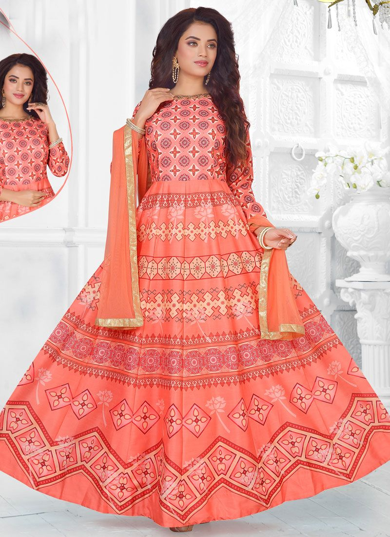 Art Silk Peach Readymade Suit