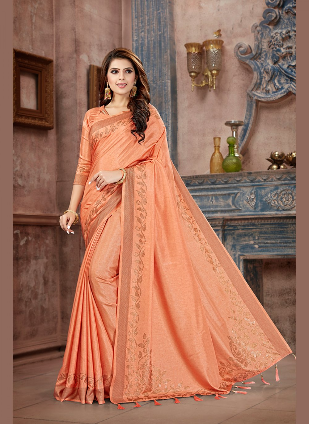 Art Silk Peach Trendy Saree