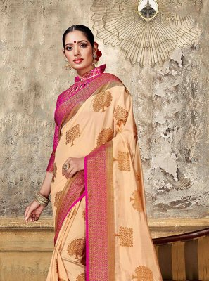 Art Silk Peach Weaving Designer Traditional Saree