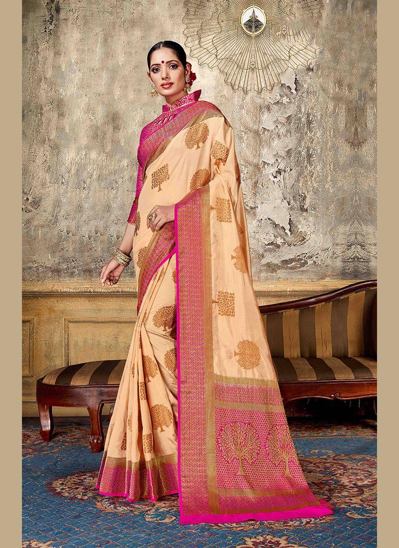 Art Silk Peach Weaving Designer Traditional Saree