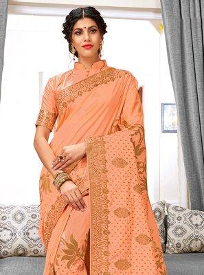 Art Silk Peach Weaving Traditional Designer Saree