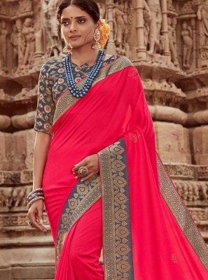 Art Silk Pink Border Designer Traditional Saree