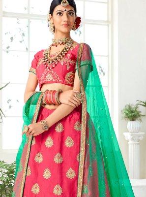 Art Silk Pink Designer Lehenga Choli