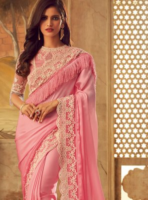 Art Silk Pink Designer Saree