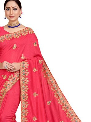 Art Silk Pink Embroidered Designer Saree