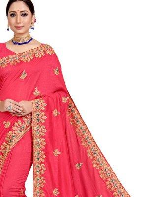 Art Silk Pink Embroidered Designer Saree