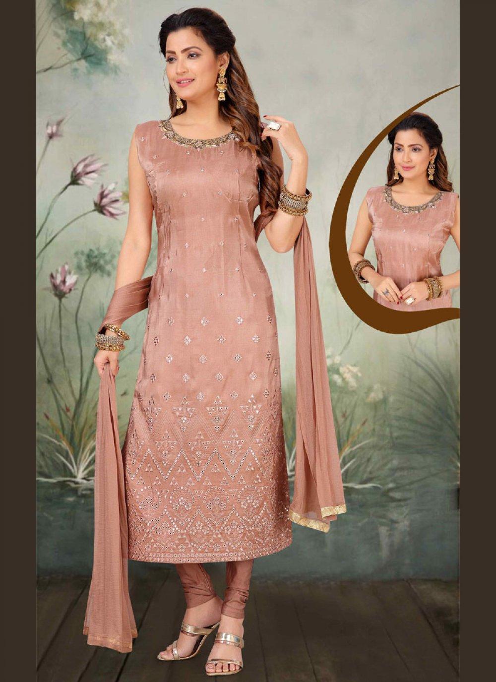 Art Silk Pink Embroidered Salwar Suit