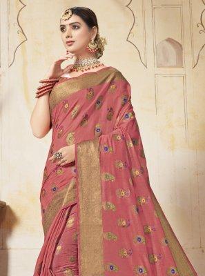 Art Silk Pink Weaving Saree