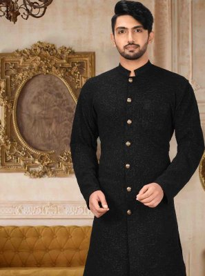 Art Silk Plain Black Kurta Pyjama