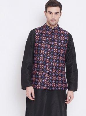 Art Silk Plain Kurta Payjama With Jacket in Black