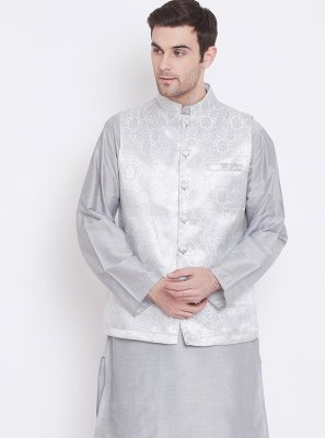 Art Silk Plain Kurta Payjama With Jacket in Grey