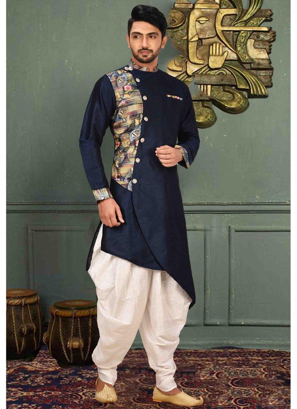 Art Silk Plain Kurta Pyjama in Navy Blue