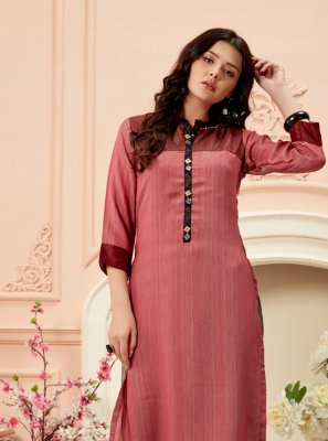 Art Silk Plain Multi Colour Casual Kurti