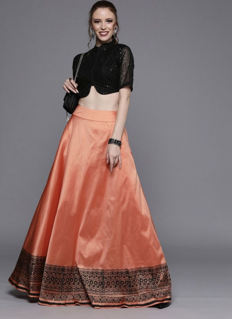 Art Silk Print Black and Orange Readymade Lehenga Choli