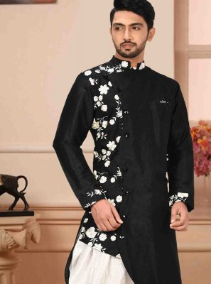 Art Silk Print Black Kurta Pyjama
