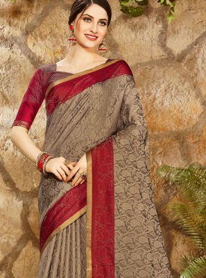 Art Silk Print Brown Designer Saree