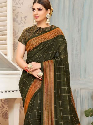 Art Silk Print Green Traditional Saree