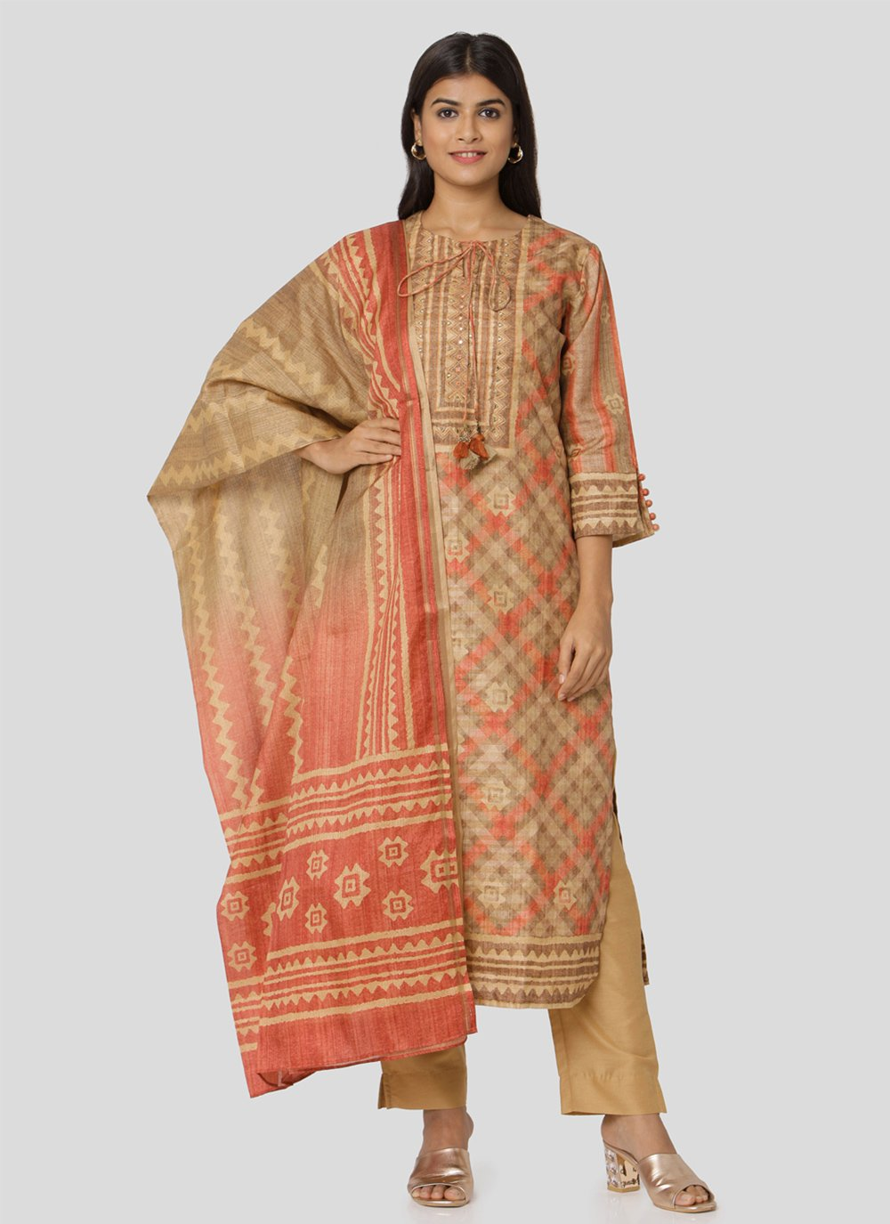 Art Silk Print Multi Colour Salwar Kameez