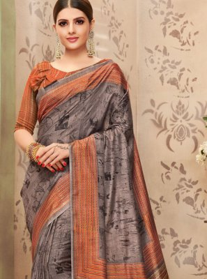 Art Silk Print Multi Colour Traditional Saree