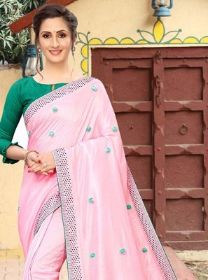 Art Silk Print Pink Printed Saree