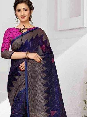 Art Silk Print Printed Saree in Blue