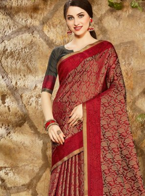 Art Silk Print Red Printed Saree
