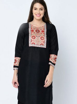 Art Silk Printed Black Casual Kurti