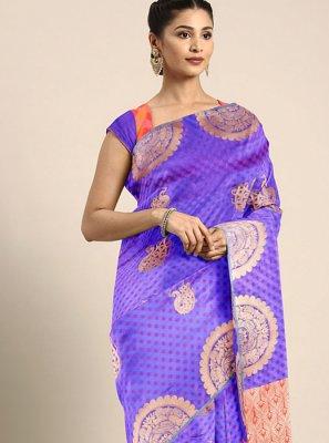 Art Silk Printed Blue Printed Saree