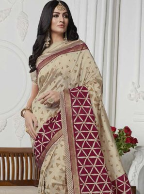 Art Silk Printed Casual Saree in Cream