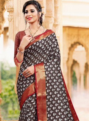 Art Silk Printed Classic Saree in Brown