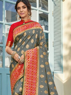 Art Silk Printed Classic Saree in Grey