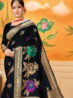 Art Silk Printed Designer Traditional Saree in Black
