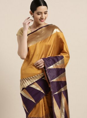 Art Silk Printed Mustard Printed Saree