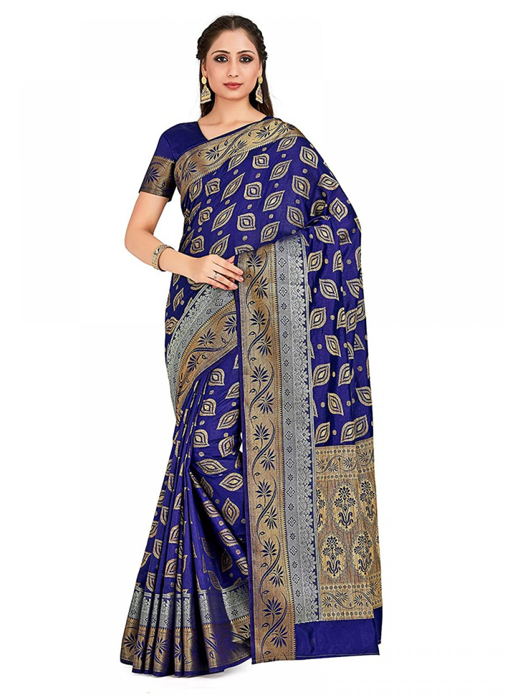 Art Silk Printed Navy Blue Designer Traditional Saree