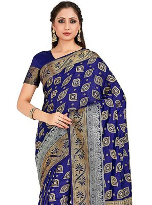 Art Silk Printed Navy Blue Designer Traditional Saree